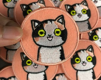 Cute Cat Patch Cartoon Patch Iron on Patch White Cat Patches