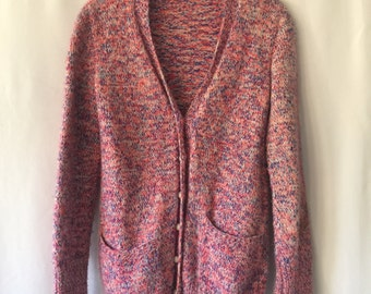 Vintage red, white & blue wool button up cardigan