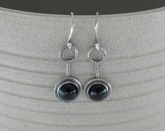 Onyx drop earrings in sterling silver setting