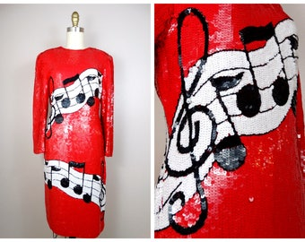 The Sequins of Music Dress // Pop Art Glamour Sequin Dress // RARE Musical Novelty Sequined Dress