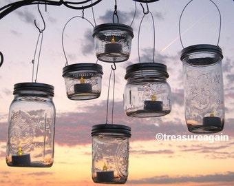 Mason jar lanterns hanging tea light luminaries lids only hanging wide mouth mason jar luminary lantern lids diy outdoor wedding candle holders solutioingenieria Image collections