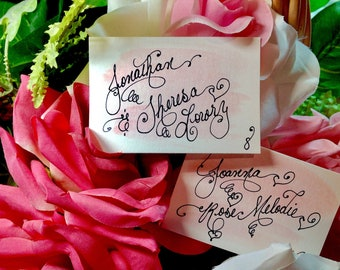 Custom Wedding Calligraphy Place Cards ~ Escort Card ~ Thank You Favor Tag ~ Handwritten ~ Affordable ~ Hand Painted Watercolor