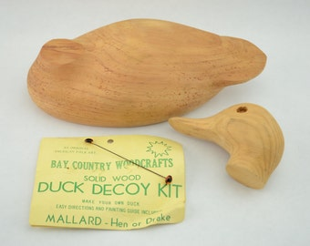 Vintage Mallard - Hen or Drake Solid Wood Decoy Kit by Bay Country Woodcrafts