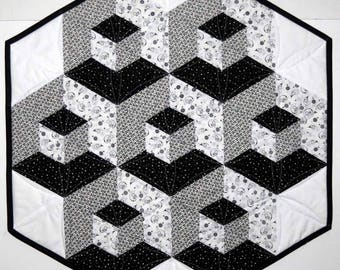 Quilted Table Topper, 3D Stacked Blocks, Black Grey White