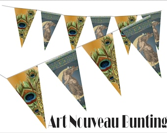 Peacock Feather Bunting Printable Art Nouveau Pennants Party Supply Boho Chic Roaring Twenties Edwardian Decor Digital File Sheet of 7 Flags