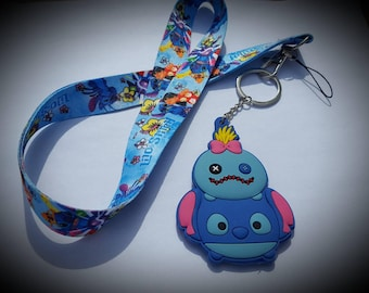 Disney inspired Lilo and Stitch lanyard and keychain