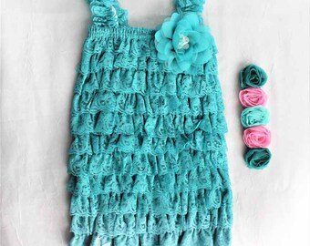 Teal Baby Dress Set, Baby Girl Dress, 12-18 Months, Teal Birthday Dress, Baby Photo Prop, Teal Cake Smash Dress, Teal Lace Dress