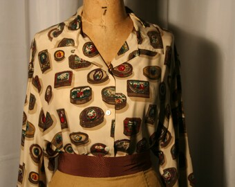 Jewel Box Blouse, 100% Silk by  First Issue 1980s - Sz. Lg.