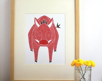 Razorback Print, Razorback Art Print, Razorback Illustration, Razorback Artwork, Razorback Decor, Razorback Home Decor, Pig Print