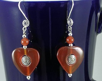 Carnelian Heart with Sacred Spiral Earrings