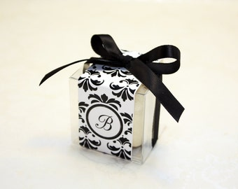 Damask Macaron Boxes, Black and White Damask - Set of 24 Favor Boxes, party supplies