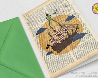 Peter Pan Neverland Greeting Card-Peter Pan card-4x6 in card-Peter Invitation card-Stationery card-Peter Pan party card-NATURA PICTA NPGC013