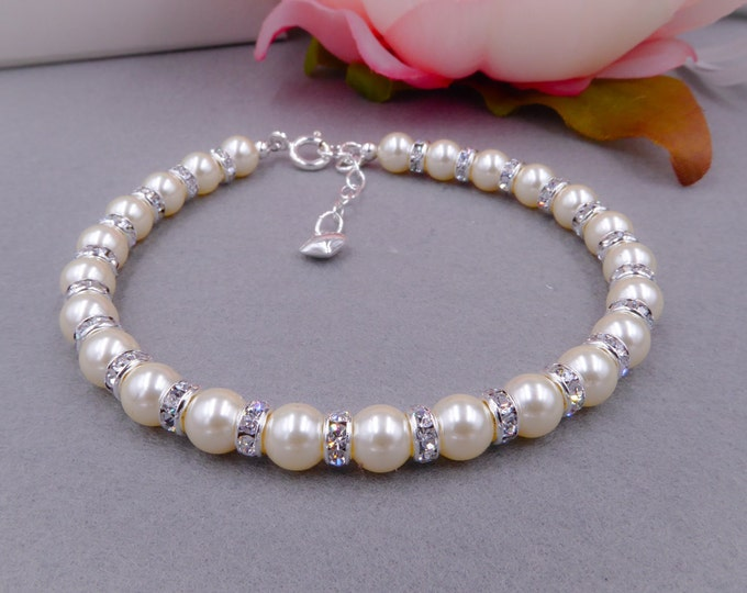 Pearl bracelet, custom colours, bridal Swarovski and Crystal Rondelle wedding, bride, 925 Silver Clasp, PROM, brides, mother  bride,