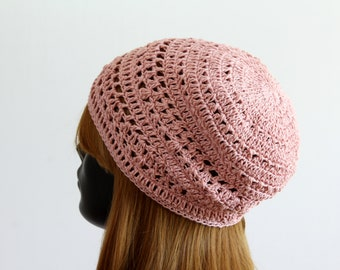 Women's spring/summer slightly slouchy beanie, lace tam beret, crochet boho hat, festival beanie, casual hat, sun protection, 100% cotton