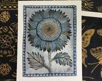Sunflower No. 2, original watercolor painting, miniature