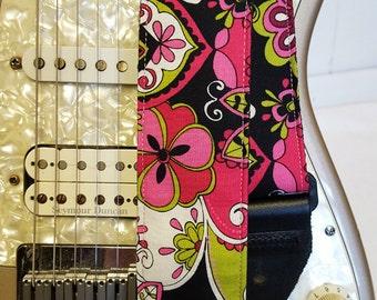 Pink hipster floral guitar strap