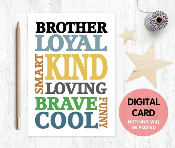 PRINTABLE big brother card printable pregnancy reveal card digital download brother birthday card instant download thanks brother card