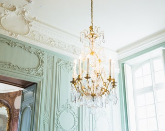 Turquoise Wall Art - Paris Photography Print - Chandelier at Musée Rodin - French Home Decor - Rococo Style Interior Photography