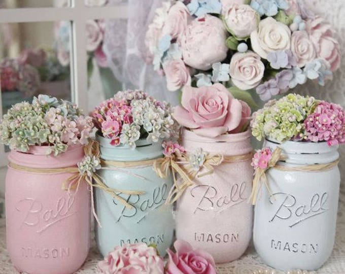 Featured listing image: Shabby Chic Painted Mason Jar Centerpiece Decor Vase Wedding Bridal Baby Shower Birthday Party Mothers Day Hostess Gift Sweet Vintage Design