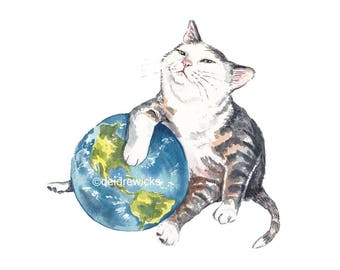 Watercolour PRINT of a Cat Holding the World - Funny Cat Painting, World Domination, Tabby Cat Lover Gift, Planet Earth
