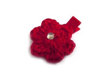 Red Hair Clip Crochet Flower Hair Clip Red Flower Red Barrette Flower Barrette Baby Hair Clip Baby Girl Hair Clip Spring Hair Clip Summer
