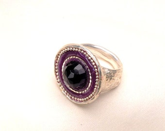 Amethyst stone ring - round silver statement ring- big cabochon ring - Trending Jewelry
