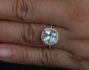 Aquamarine Engagement Ring Diamond Ring in 14k Rose Gold with Aquamarine Cushion 9mm and Diamonds