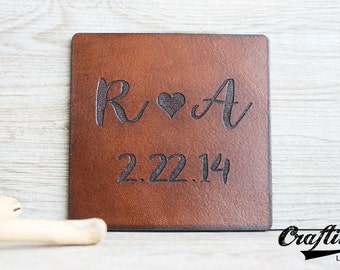 Leather Wedding Anniversary, Personalized Leather Coasters, 3 year Anniversary Gifts for Her, Third Anniversary, 9th Anniversary, 3rd
