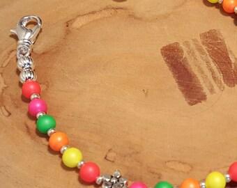 LARGE Swarovski pearl multicolor medical alert bracelet size 6.5 inches