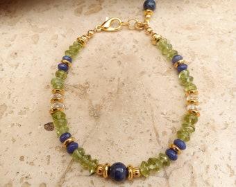 Genuine Sodalite, peridot and rock crystal bracelet.