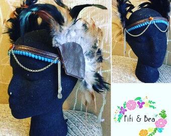 Feather headdress festival crown