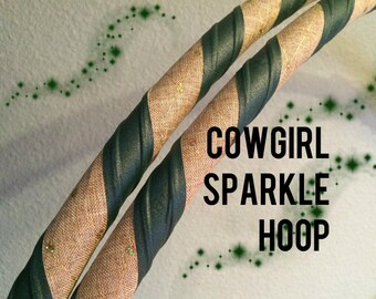 Cowgirl Sparkle Dance & Exercise Hula Hoop COLLAPSIBLE or Push button - brown burlap glitter green grippy hoop