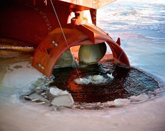 Montreal - St Laurent River - Winter photography - Frozen water - Ice photo -  Ship Propeller photo - Wall Decor - In Frozen Water