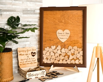 Personalized Wedding guest book Rustic wedding Guestbook Drop Box Brown frame Custom wedding Guest Book Hearts Wedding guest book ideas