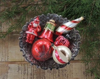 Vintage Assorted Blown Glass West Germany Christmas Tree Ornaments, Set of 6 Tree Trimming