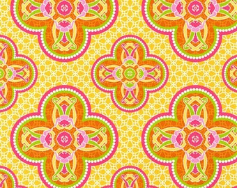 Blossom Fabric - Flower Fabric - Pink Fabric - Art Nouveau Fabric - Yellow Fabric - Modkid - Green - Cotton Fabric - By the  Yard