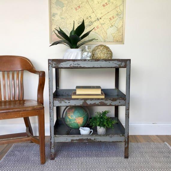Vintage Industrial Table - Industrial Style Furniture - 3 Tier Table - Rustic End Table - Gray Side Table - Vintage Metal Table