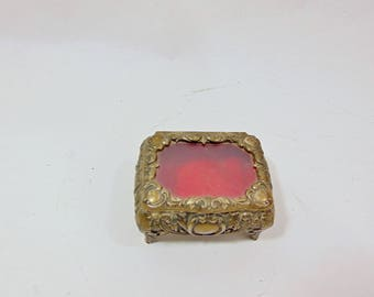 1950s, Trinket Dish, Trinket Box, Vanity, Vanity Collections, Jewelry Box, Romantic Decor, Casket Box, Casket Jewelry, Red Felt, Vintage Box