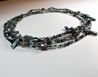 Labradorite apatite Hematite necklace with pearls