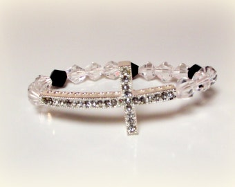 Black and Clear Crystal Silver Cross Pendant Bracelet