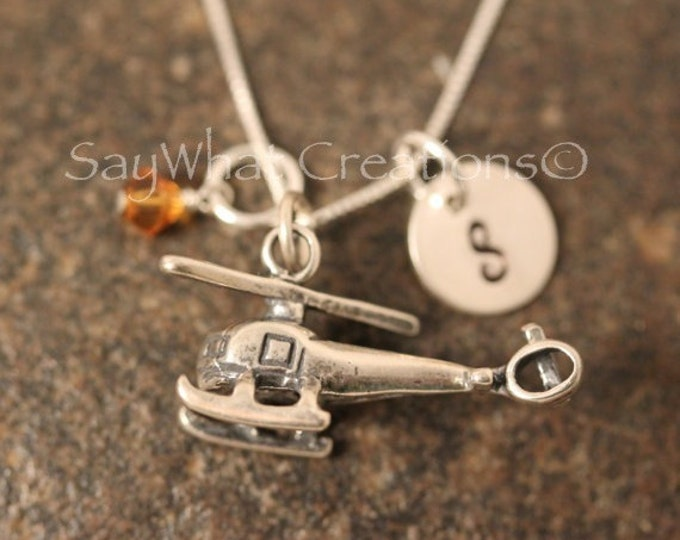 Sterling SIlver Mini Initial Hand Stamped Helicopter Charm Necklace