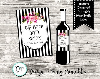 Sip Back And Relax Mother's Day Birthday Wine Bottle Label Digital Printable Instant Download