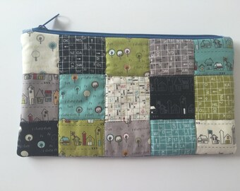 Quilted patchwork zipper pouch, cosmetic bag, pencil case - green, blue, black, grey