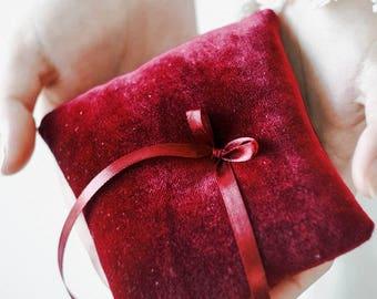 Marsala Ring Pillow, Ring Bearer Pillow, Ring Pillow, Wedding Ring Pillow, Ring Bearer, Velvet Pillow, Rustic Wedding, Ring Cushion,Ring Box