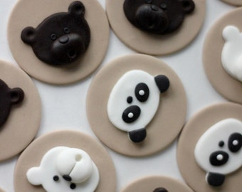Fondant bear topper. Edible bear topper. Polar bear fondant. Brown bear fondant. Panda bear fondant. Edible panda bear topper. Bear cake.