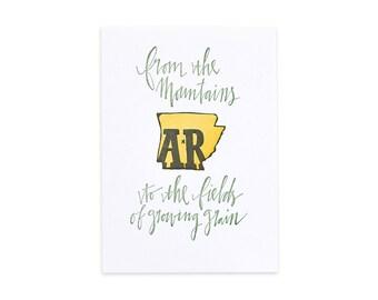 Arkansas Letterpress State Print // 1canoe2 // Hand illustrated