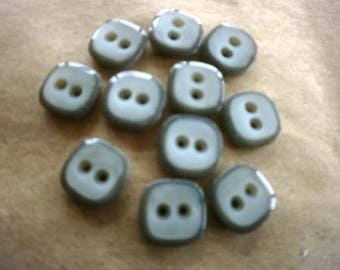 Set of 4 square plastic, gray, size 12 mm buttons