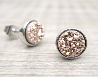 Rose gold druzy studs, bridesmaids gift, druzy earrings, tiny studs, great gatsby jewelry, bridesmaid jewelry, rose gold earrings