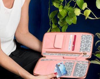 Passport Wallet, Travel Wallet Organizer, Clutch Wallet, Women's Travel Wallet, Smart Phone Wallet