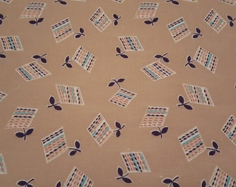 sm FQ Vintage FEEDSACK fabric - 16 1/2 x 22 - brown beige with navy